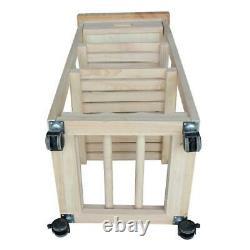 Kitchen Cart W Tiroir Butcher Block Top 4 Castors Robuste Durable Inachevé