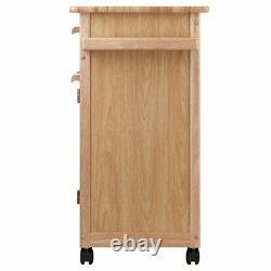 Kitchen Island Rolling Cart Portable Utility Storage Armoire Wood Block Butcher
