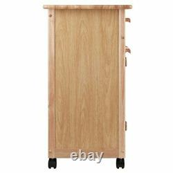 Kitchen Island Rolling Cart Portable Utility Storage Cabinet Wood Butcher Block