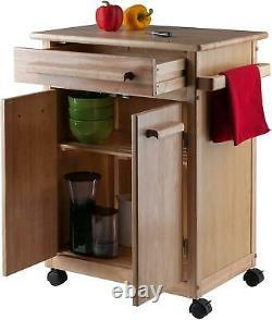 Kitchen Island Rolling Cart Utilitaire Armoire De Stockage Wood Butcher Block Portable