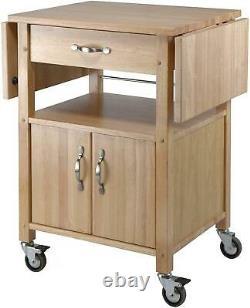 Kitchen Island Solid Wood Utility Cart Butcher Block Rolling Storage Cabinet Nouveau