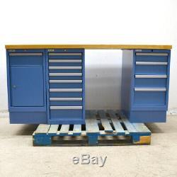 Lista Butcherblock Bois-top 13 Tiroirs 1-armoire 72 X 30 X 35 Bleu Workbench
