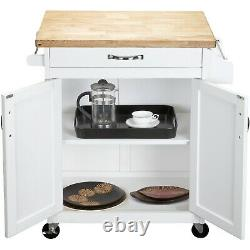 Mainstays Luxury Island Kitchen Cart Avec Tiroir, Boucher Block Top, Blanc