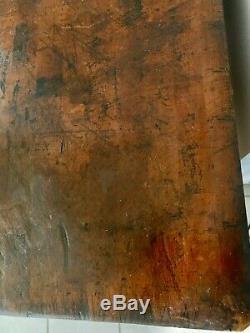 Maître De Soudure Construit En Bois Commercial Butcher Block Daté 1938 Belle Patina