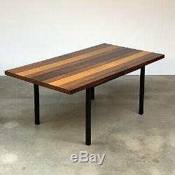 Milo Baughman Directionnel Mixte Woods Butcher Block Table À Manger