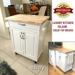 Mobile Kitchen Island Cart Solid Tot Conseil De Coupe Bâton De Boucher En Bois Sur Roues