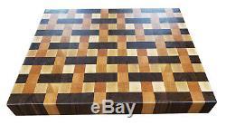 Noyer Cherry Maple Weave Designer Butcher Block Planche À Découper Nouveau Grain Fin