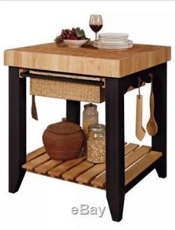 Petite Table De Préparation De Poste De Travail De Cuisine D'île De Bloc De Boucher, Noir Avec Des Ustensiles