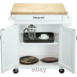 Portable Kitchen Island Chariot Avec Tiroir Porte-serviettes Porte-serviettes Bar Block Butcher Top
