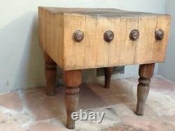 Rare Vintage / Antique Butcher Block Table, 30x30x31, Sacramento