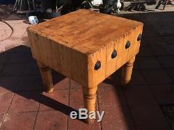 Rare Vintage Maple Butcher Block Table, Cuisine Île
