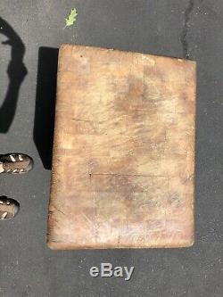Rare Vintage Table De Bloc De Boucher En Bois Massif 34hx24wx18d. Plus De 100lbs