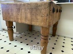 Rare Vintage Table De Boucher En Érable, Îlot De Cuisine
