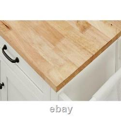 Rockford White Wood Kitchen Island Avec Bloc De Boucher Naturel Top 56.25 In. W