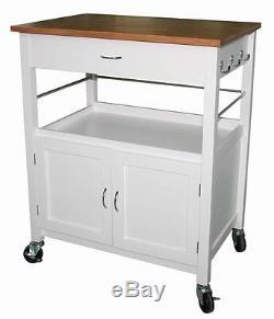 Roulant Cuisine Island Storage Utility Cart Cabinet Butcher Block Top Blanc Nouveau