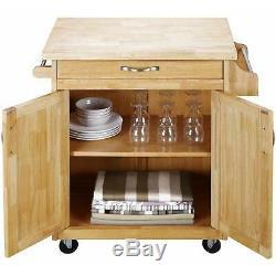 Roulant, Îlot De Cuisine Panier, Butcher Block Top, Porte-serviettes, Porte-bagages Épices, Le Cabinet