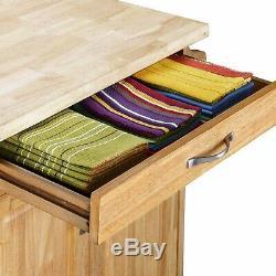Roulante Cuisine Island Cart Butcher Block Countertop Natural Drawer Nouveau