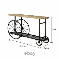 Rustic Industrial Sofa Table Wood Metal Wheels Mesh Shelf Butcher Block Top