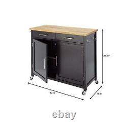 Stylewell Kitchen Cart Butcher Block Top Solid Natural Wood Black 2 Tiroirs