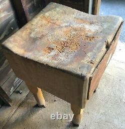 Table D'érable, Bloc De Gros Boucher Antique Très Lourd Vers Le Début Des Années 1900