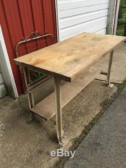 Table De Banc De Travail Industrielle Vintage En Bois Butcher Block De 5 Pieds
