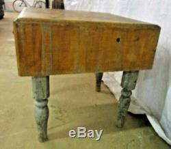 Table De Bloc De Boucher En Bois Antique Ilot De Cuisine Jambes En Bois Support De Viande Flat Top