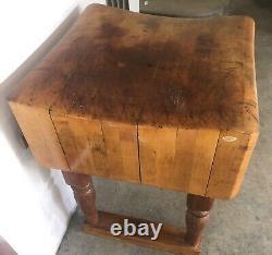 Table De Bloc Du Boucher Antique