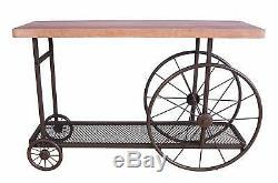 Table En Bois Industrielle Rustique De Roues De Bois En Métal De Table De Dessus De Bloc De Boucher D'étagère De Maille
