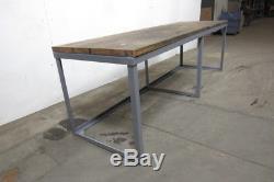 Table Etabli Vintage Industriel 120x37x38-1 / 2 Haut En Bois De Boucherie