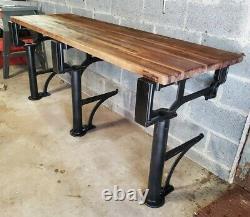 Table Industrielle Ancienne Fonte De La Machine De Fer Jambes Williamsburg Bloc Boucher Top