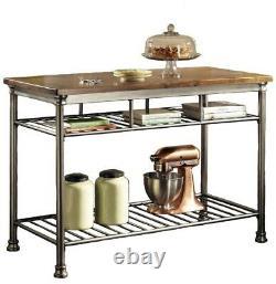 Table Utilitaire De Cuisine 2-étagères Métal Base Vintage Carmel Finition Avec Levelers