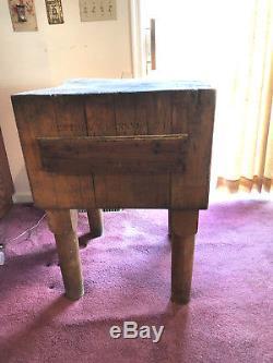 Tableau Block De Boucher Vintage Pays Ferme En Érable Massif Hacher Industriel Antique