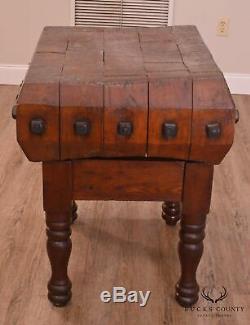 Tourné Antique Leg Butcher Block Table