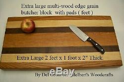 Très Grand Bloc De Boucher Grain De Bord Multi-bois 24 X 12 X 2 D'épaisseur Avec Des Tampons