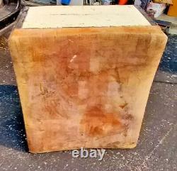 Vintage Block Butcher Table 30tx30w X24d 12 Bois Rustique Ohio Antique