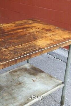 Vintage Butcher Block Table, Cuisine Île Bakers Cuisine Haut De La Station De Bois De Bureau
