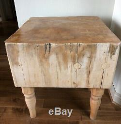Vintage Butcher Block Table En Bois Aronde Érable Solide Massif