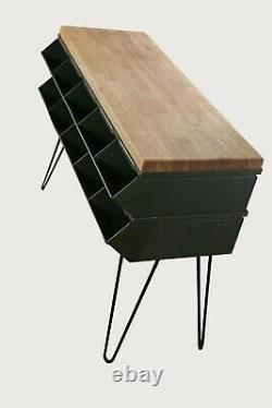 Vintage Industrial Rustic Art Metal Console/accent Table Butcher Block MCM