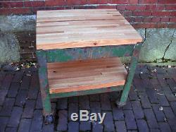 Vintage Industriel Usine Panier Stand Métal Acier Bois De Chêne Butcherblock Table