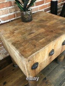 Vintage Maple Butcher Block Table 30x 25 X 31h Par Michigan Maple Co Bloc