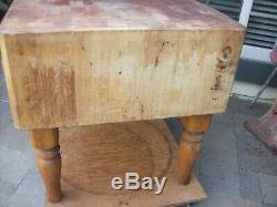 Vintage Maple Butcher Block Table, Îlot De Cuisine Fin Des Années 1800