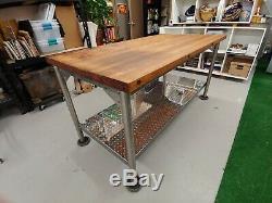 Vintage Revernir Kitchen Island Butcher Block Table Taille Industrielle