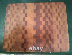 Vintage Wood Hacher Butchers Block Planche À Découper Rectangulaire Multi Bois