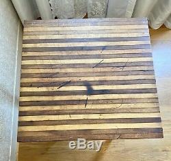 Vtg Antique Butcher Block Table Shabby Chic 23x23x32 Redwood Chippy Ivoire Avec Top