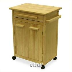 Winsome Beechwood Butcher Block Kitchen Cart En Finition Naturelle